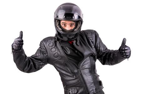 Fietser in lederen jas met helm geïsoleerd in het wit Stockfoto