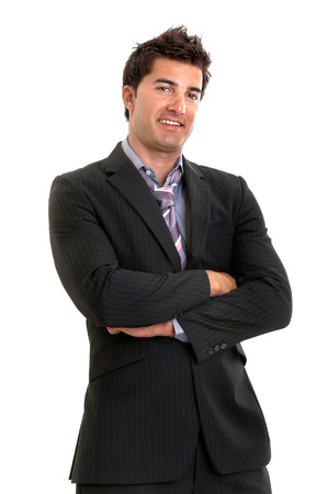 Young businessman isolated in white photo