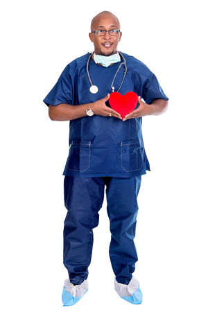 the descendant: African descendant doctor with red heart in his hands isolated in white