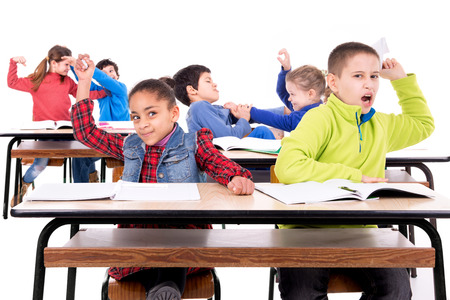 Chaos in the children's classroom Stockfoto