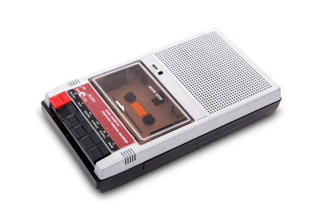 Old Cassette Tape player and recorder on a white background. Stock Photo