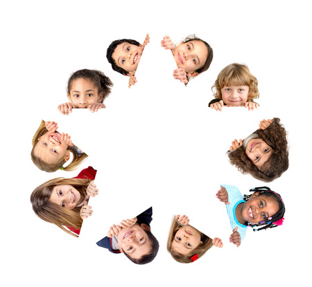 Group of children with a star shaped white board isolated in white