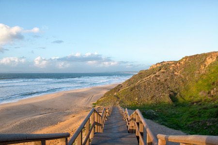 Meco beach entrance in Portugal photo