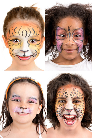 Group of kids with face painting Stock Photo