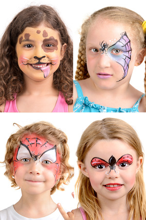 Group of kids with face painting 版權商用圖片