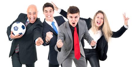 Group of businesspeople celebrating fottball