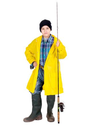 fishingpole: Young boy in fishermans gear