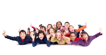 Group of happy children posing isolated in white Stockfoto