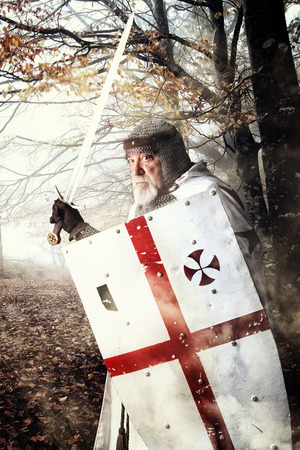 Templar knight in the woods ready for battle