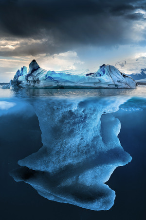 Big iceberg undewater with a small part floating