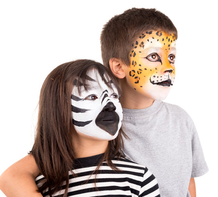 Childrens couple with face-paint isolated in white