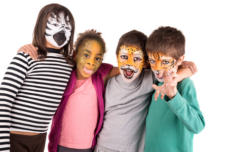 Childrens group with face-paint isolated in white Stock Photo