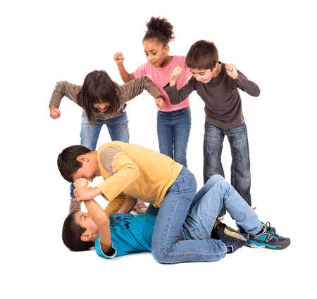 Boys fighting with other kids cheering isolated in white photo