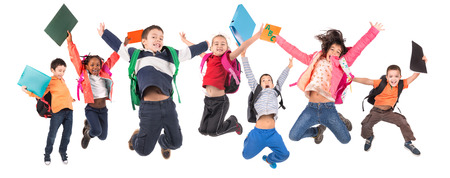 children school: Group of school children jumpng isolated in white