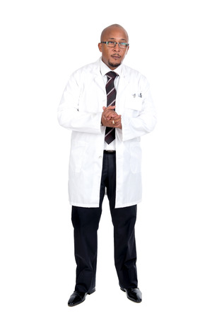 the descendant: African descendant doctor isolated against a white background