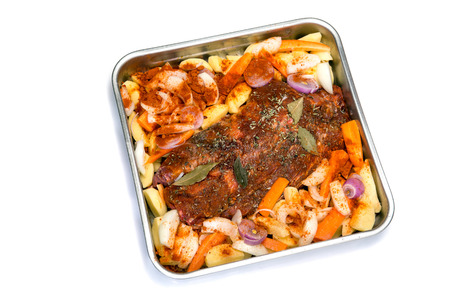 oven tray: Oven tray with roast meat dinner Stock Photo