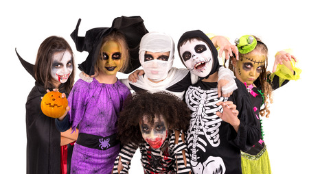 흰색으로 격리 얼굴 - 페인트와 할로윈 의상을 가진 아이 스톡 콘텐츠