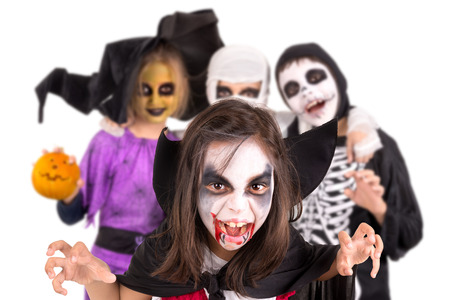 Kids with face-paint and Halloween costumes isolated in white 版權商用圖片 - 36512375