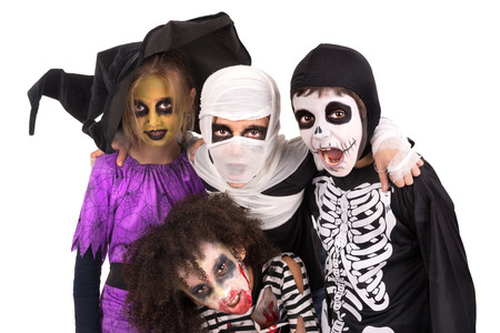 kids costume: Kids with face-paint and Halloween costumes isolated in white