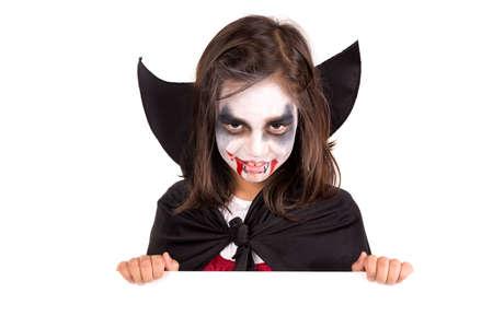 Chica Con Pintura De Cara Y Traje De Vampiro De Halloween Más De Una ...