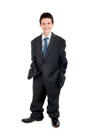 man's suit: Young boy dressed with a big mans suit
