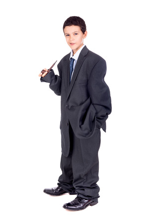 man's suit: Young boy dressed with a big mans suit and pipe