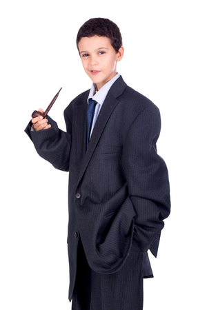 man's suit: Young boy dressed with a big mans suit and a pipe