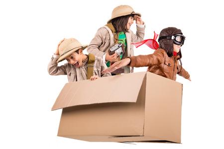 Safari를 재생 골판지 상자 어린이