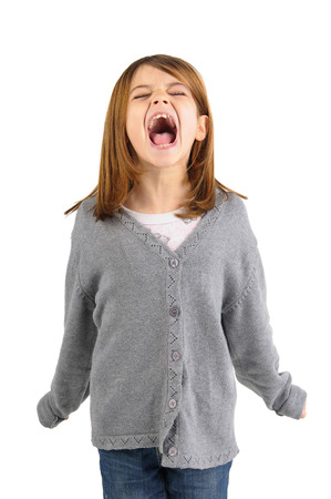 shouting: Young girl screaming isolated in white Stock Photo