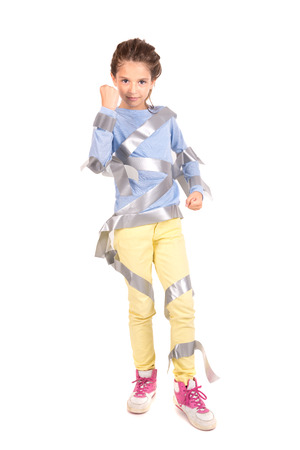 restrain: Young girl posing with duct tape