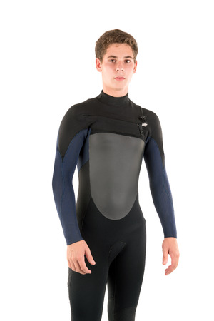 wet suit: Teenager in wet suit posing isolated in white
