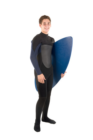 wet suit: Teenager in wet suit with skimboard posing isolated in white