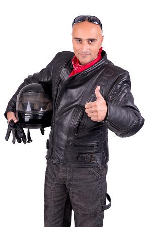 Motorbike rider against a white background