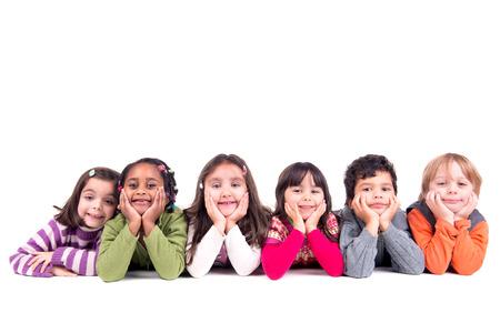 Groep kinderen poseren geïsoleerd in het wit Stockfoto - 40554548