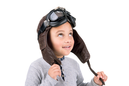 pilot helmet: Young boy with pilot  helmet isolated in white Stock Photo