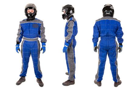 여러 위치에서 헬멧 함께 포즈 드라이버를 경주하는 흰색으로 격리
