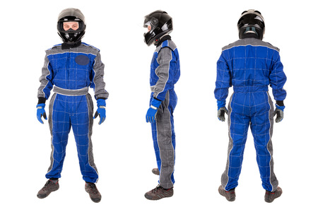 Racing driver posing with helmet in several positions isolated in white Foto de archivo