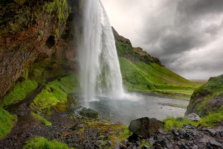 waterfall with sky: Beautiful and dramatic Seljalandsfoss waterfalls in Iceland Stock Photo
