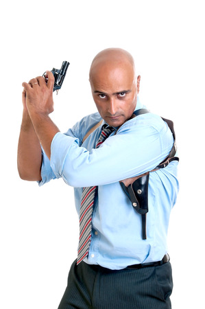 hitman: Man with gun isolated in white