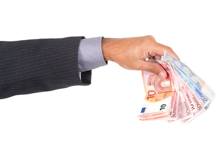 lend a hand: Hand with euro bills isolated in white Stock Photo
