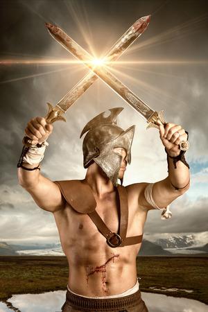 Gladiator posant isolée dans un fond blanc Banque d'images - 46782939