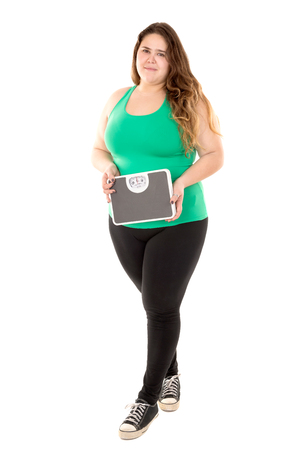 gluttonous: Beautiful large girl posing with a weight scale isolated in white