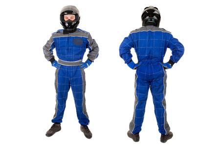 Rennfahrer posiert in voller Montur in weiß isoliert