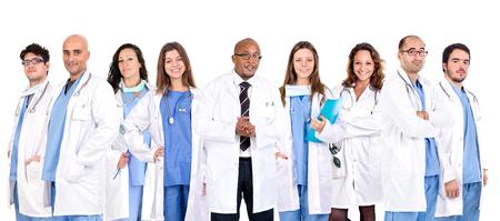 의사의 그룹 흰색 배경에서 격리