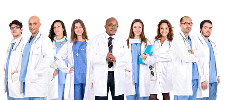 medical uniform: Group of doctors isolated in a white backgroud