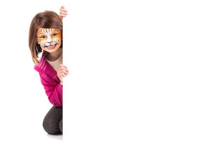 얼굴 - 페인트와 화이트 보드 어린 소녀