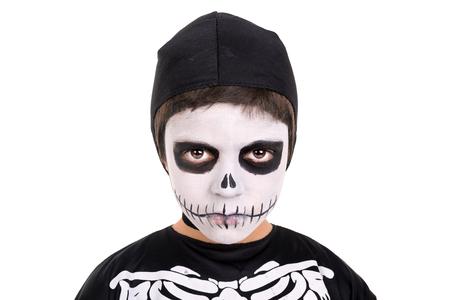 Boy Con Pintura De Cara Y Traje De Esqueleto De Halloween Más De Una ...