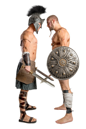 gladiator: Gladiators challenging isolated in a white background