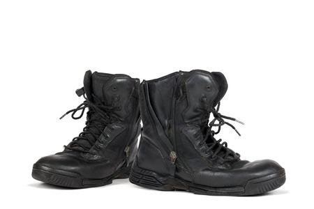 army boots: Pair of army boots isolated in white