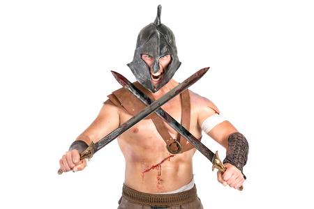 roman soldiers: Gladiator posa isolato in uno sfondo bianco